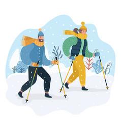 happy couple practicing nordic walking in snow vector image