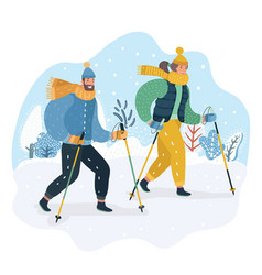happy couple practicing nordic walking in the snow vector image
