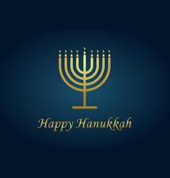 happy hanukkah gold menorah hanuka on blue vector image