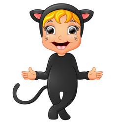 happy little girl wearing cat costume waving hand vector image