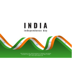 indian national flag ribbon happy independence day vector image