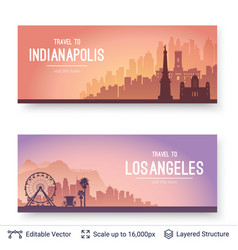 indianapolis and los angeles famous city scapes vector image