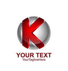Initial letter k logo template colored red grey vector