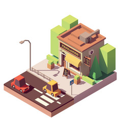 Isometric cheese shop vector