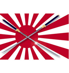 Japanese flag and swords vector