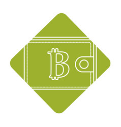 label bitcoin symbon in the wallet to save money vector image