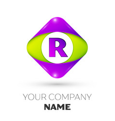 Letter r logo symbol in colorful rhombus vector