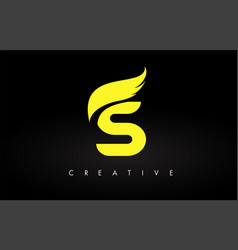 Letter s logo with yellow colors and wing design vector
