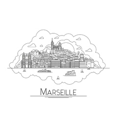 Line art Marseille France travel icon vector