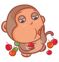 Little brown monkey eating fruits scene vector