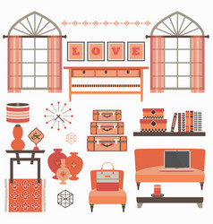 living room furniture and accessories in coral red vector image
