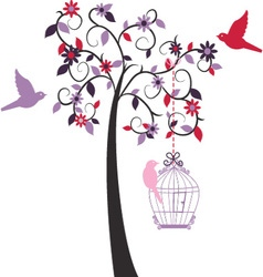 Love Tree ad Love Bird vector image