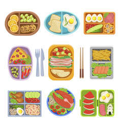 Lunch boxes top view colorful vector
