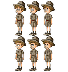 man in safari outfit with different expressions vector image