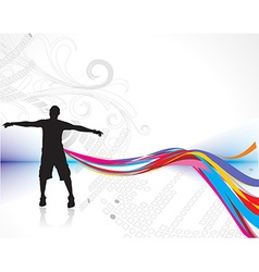 man raising his hands vector image