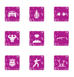 Men day icons set grunge style vector