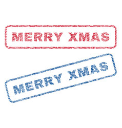 Merry xmas textile stamps vector