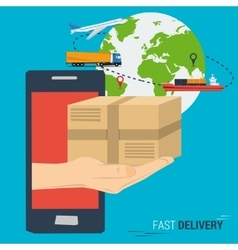 Mobile fast delivery concept vector