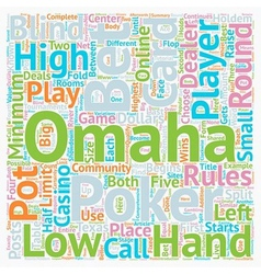 Omaha Rules How to Play Omaha Poker text vector