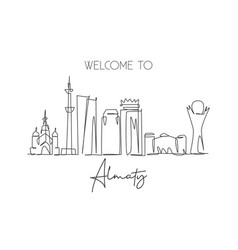 One continuous line drawing almaty city vector