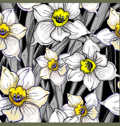 otanical seamless pattern with hand drawn flowers vector image