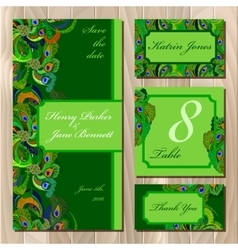Peacock Feathers Wedding card set Printable vector image