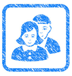 people couple framed stamp vector image