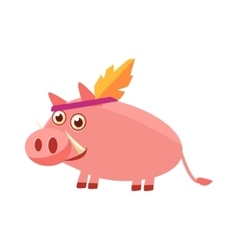 Pig wearing indian head gear vector