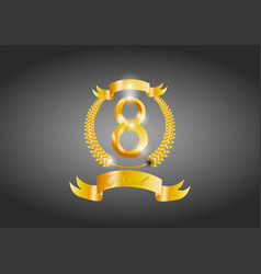 postcard to 8 marchgold symbol with laurels vector image