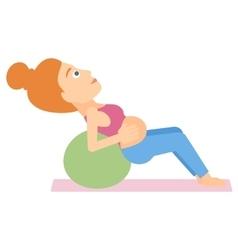 Pregnant woman on gymnastic ball vector