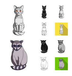 realistic animals cartoonblackflatmonochrome vector image