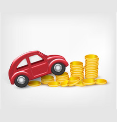Red model car with gold coins vector