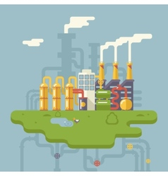 Retro Flat Factory Refinery Plant Manufacturing vector image