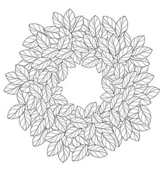 Round frame made of linear leaves vector
