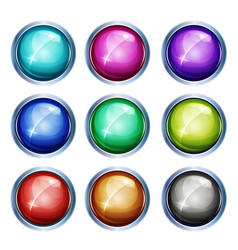 rounded light icons and buttons vector image