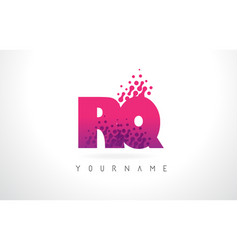 rq r q letter logo with pink purple color and vector image