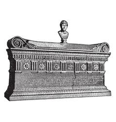 sarcophagus of scipio barbatus vintage vector image
