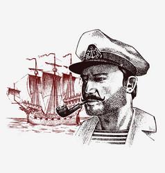 Sea captain against background sailboat vector