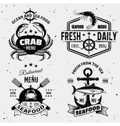 Seafood Menu Monochrome Emblems vector