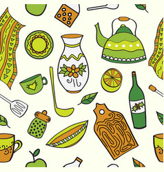 seamless background with drawing kitchen element vector image