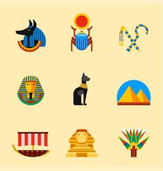 set flat design egypt travel icons vector image