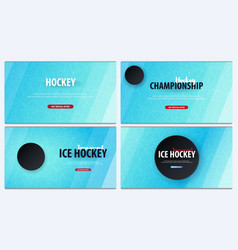 set of hockey backgrounds with puck and doodle vector image