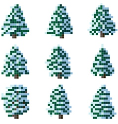 Set of pixel winter snowy tree vector image