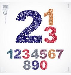 Set ornate numbers flower-patterned vector