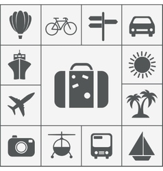 silhouette travel icon set vector image