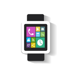 Smart watch interface with media icons vector