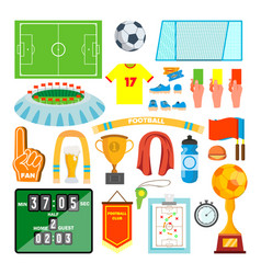 soccer icons set soccer accessories ball vector image