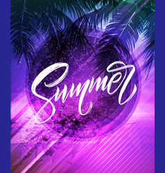 Summer lettering palm leaf and sea background vector