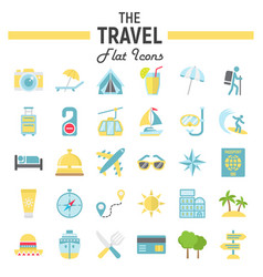 Travel flat icon set tourism symbols collection vector