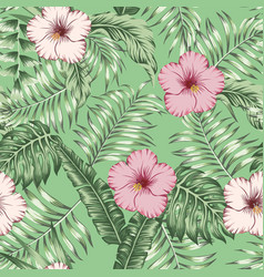 tropical leaves and hibiscus seamless green vector image